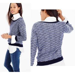 JCREW Tweed Stitch Pullover Blue White Sweater